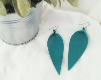 "Jaded Teal / Leather Statement Earrings / FREE SHIPPING/  /  Inspired / Leaf / Lrg / 3.25""x1.25""/ Hypoallergenic / Gift"