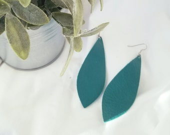 "Jaded Teal / Leather Earrings / FREE SHIPPING/   / Pendant / Large / 3.5""x1.25"" / Hypo-Allergenic / Spring"