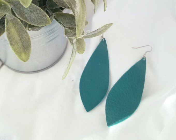 "Jaded Teal / Leather Earrings / FREE SHIPPING/ Joanna Gaines Magnolia Inspired / Pendant / Large / 3.5""x1.25"" / Hypo-Allergenic / Spring"
