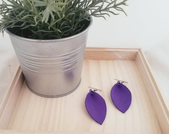 """Ultra Violet Leather Statement Earrings / FREE SHIPPING / Joanna Gaines Magnolia Market / Leaf / 2.5""""x1.25""""/ Hypo-Allergenic / Spring / Gift"""