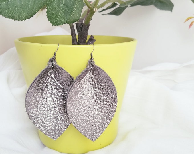 "Silver Metallic / Leather Earrings / FREE SHIPPING /  /  / Statement / Leaf / XL / 3.25""x 2.25""/ Hypoallergenic"