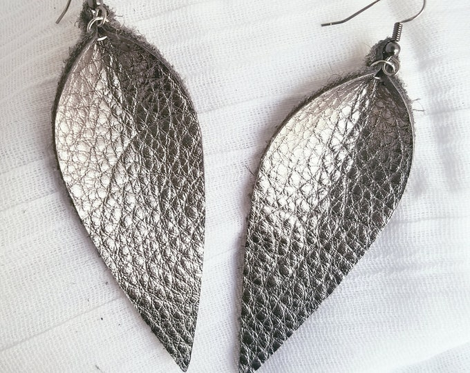 "Silver Metallic / Leather Earrings / FREE SHIPPING /  /  / Statement / Leaf / Long/ 3.25""x1.25""/ Hypoallergenic / Gift"