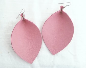 "Pink Flamingo / Leather Earrings / FREE SHIPPING /  /  / Statement / Leaf / XL /3.25""x 2.25""/ Hypoallergenic"