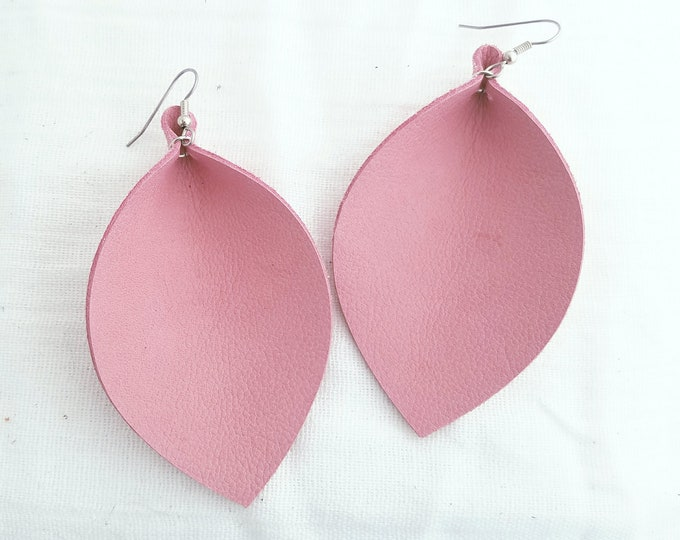 "Pink Flamingo / Leather Earrings / FREE SHIPPING / Joanna Gaines / Magnolia Market / Statement / Leaf / XL /3.25""x 2.25""/ Hypoallergenic"
