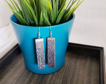 Gunmetal Glitter / Leather Bar Earrings / Bold Style / Statement Earrings / Boho Style / Simple / Lightweight & Comfortable / Medium