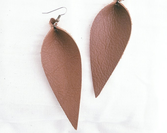 """Brown / Leather Earrings / FREE SHIPPING/ Joanna Gaines / Magnolia Market / Zia / Statement / Leaf / Long/ 3.5""""x1.25""""/ Hypoallergenic"""