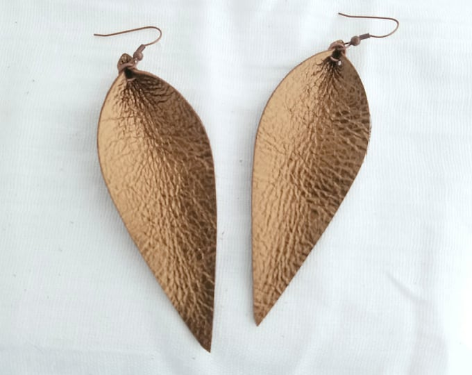 "Metallic Bronze / Leather Earrings / FREE SHIPPING / Joanna Gaines / Fixer Upper / Magnolia / zia / Leaf / Long/3.5""x1.25""/ Hypoallergenic"