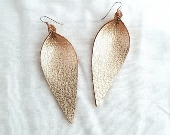 "Rose Gold Metallic / Leather Earrings / FREE SHIPPING /  /  / Statement / Petal / Leaf / Long/ 3.25""x1.25""/ Hypoallergenic"