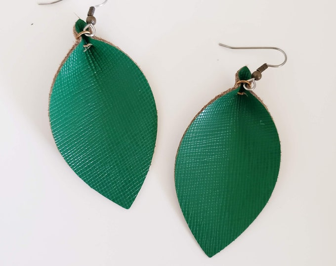 Classic Green Leather Leaf Earrings /   Style / Statement Earrings / Boho / Bold Style / Lightweight & Comfortable / Medium