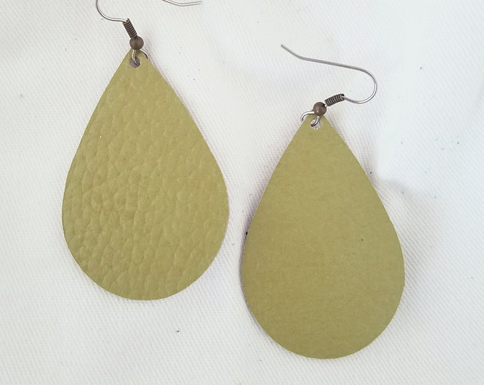 "Green Tea / Leather Statement Earrings / FREE SHIPPING / Teardrop / Medium / 2.25""x1.5"" / Hypo-Allergenic / Easter / Mothers Day / Spring"