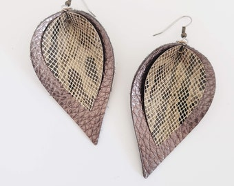 Metallic Layered Leather Earrings/ Desert Snake/ Shimmer Collection/ Petal // Statement Earrings/ Multiple Sizes/ Gift for her