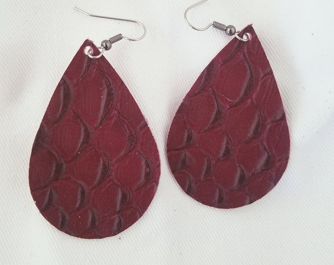 "Wine Serpent/ Leather Statement Earrings / FREE SHIPPING / Teardrop / Medium / 2.25""x1.5"" / Hypo-Allergenic / Easter / Mothers Day / Spring"
