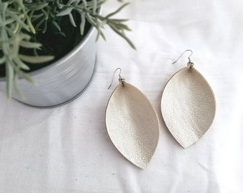 "Champagne Metallic / Leather Earrings /  Style /  /  / Leaf Earrings / AellaVJewelry / X-Large / 3.25""x 2.25"""