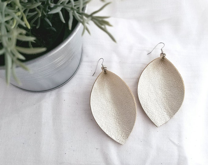 "Champagne Metallic / Leather Earrings / Joanna Gaines Style / Magnolia Market / Zia / Leaf Earrings / AellaVJewelry / X-Large / 3.25""x 2.25"""