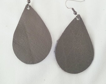 "Granite / Leather Statement Earrings / FREE SHIPPING / Teardrop / Medium / 2.25""x1.5"" / Hypo-Allergenic / Easter / Mothers Day / Spring"