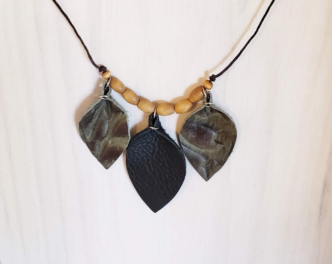 "Leather Leaf Choker Necklace // FREE SHIPPING // Black and Olive Green // Wood Beads // 16"" // Boho // Natural // Lightweight // Comfortable"