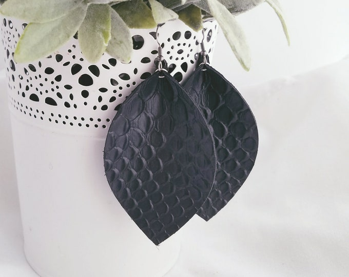 "Black Snake / Leather Earrings / FREE SHIPPING / Joanna Gaines / Magnolia Market / Statement / Leaf / X-Large / 3.25""x 2.25""/ Hypoallergenic"