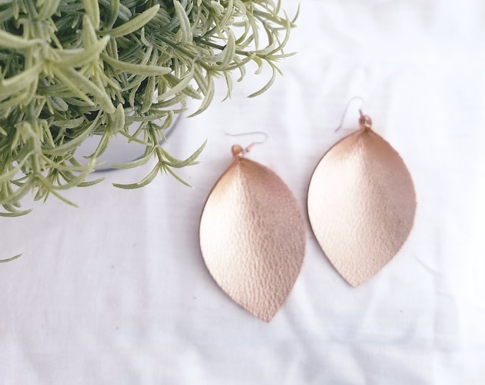 "Rose Gold Metallic / Leather Earrings / FREE SHIPPING / Joanna Gaines / Magnolia Market / Zia / Leaf / X-Large /3.25""x 2.25""/ Hypoallergenic"