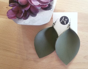 "Olive Green / Leather Earrings /  /  /  Earrings / Leaf Earrings / AellaVJewelry / X-Large / 3.25""x 2.25"""