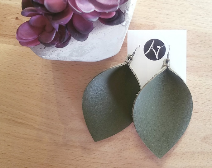 "Olive Green / Leather Earrings / Joanna Gaines / Magnolia Market / Zia Earrings / Leaf Earrings / AellaVJewelry / X-Large / 3.25""x 2.25"""