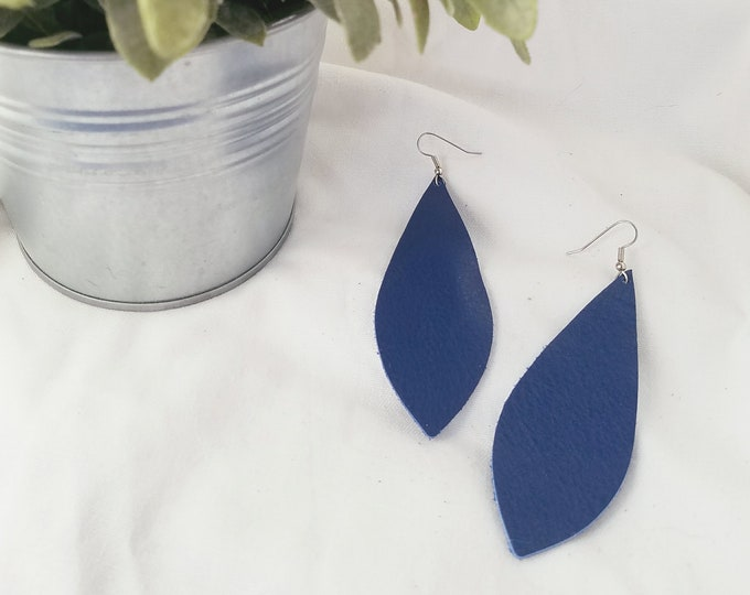 "Cobalt Blue / Leather Earrings / FREE SHIPPING/ Joanna Gaines Magnolia Zia Inspired / Pendant / Large / 3.5""x1.25"" / Hypoallergenic / Spring"