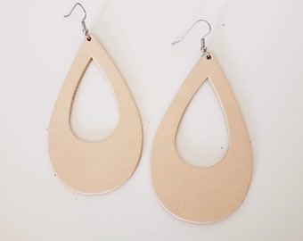 Nude Leather Teardrop Earrings / Cutout Earrings / Statement Earrings / Classic Style / Lightweight & Comfortable / Bold Fashion / Large