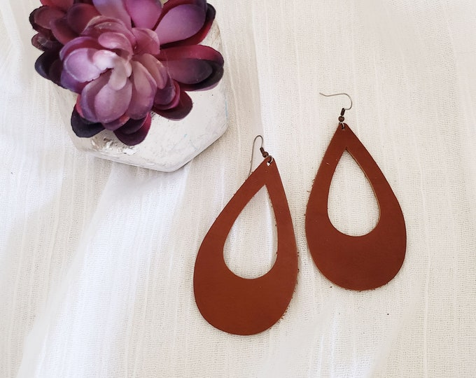 Brown Leather Teardrop Earrings / Cutout Earrings / Statement Earrings / Classic Style / Bold Fashion / AellaVJewelry / Large / 3.25 x 2""