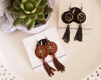 "Tassel Earrings / Leather & Wood Earrings / Black or Brown / Lightweight / 3"" x 1""/ Aella V Jewelry"