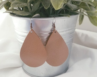 "Brown Pearl / Leather Statement Earrings / FREE SHIPPING / Teardrop / Medium / 2.25""x1.5"" / Hypo-Allergenic / Easter / Mothers Day / Spring"