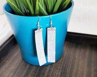 Silver Glitter / Leather Bar Earrings / Statement Earrings / Boho Style / Simple / Silver Earrings / Rectangle / Gift / Medium / 2.5 x .5""