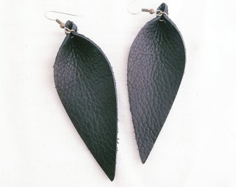 Genuine Leather Earrings / Black Earrings / Leather Leaf Earrings / Feather Earrings / Statement Earrings / Gift / Long Earrings / 3.5x1.25""