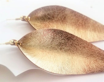 "Genuine Leather Earrings / Matte Gold / Leather Leaf Earrings / Feather Earrings / Statement Earrings / Long Leaf Earrings / 3.5""x1.25"""