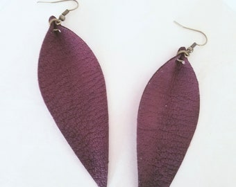 "Leather Leaf Earrings / Rustic Berry / Genuine Leather Earrings / Feather Earrings / Statement Earrings / Long Earrings / 3.5""x1.25"""
