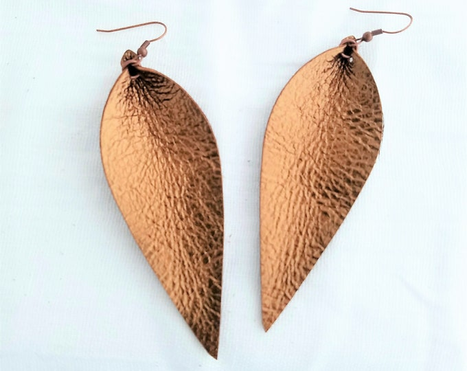 "Genuine Leather Earrings / Metallic Bronze / Leather Leaf Earrings / Feather Earrings / Handmade / Aella V Jewelry / Long Leaves /3.5""x1.25"""