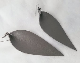 "Granite / Leather Statement Earrings / FREE SHIPPING/  /  Inspired / Leaf / Lrg / 3.25""x1.25""/ Hypoallergenic / Gif /Neutral"