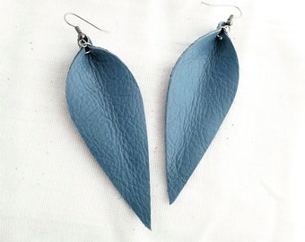"Genuine Leather Earrings / Aqua Mist / Leather Leaf Earrings / Teal Earrings / Blue Earrings / Statement Earrings / Long Leaves / 3.5""x1.25"""