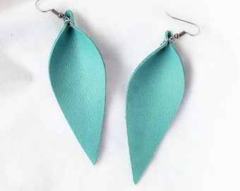 Mint Green / Leather Leaf Earrings / Feather Earrings / Long Earrings / Statement Earrings / Boho Jewelry / Leather Earrings / 3.5 x 1.25""