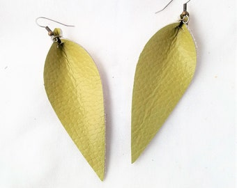 "Leather Leaf Earrings / Green Tea / Genuine Leather / Statement Earrings / Chartreuse / Yellow-Green / Long Feather Earrings / 3.25""x1.25"""