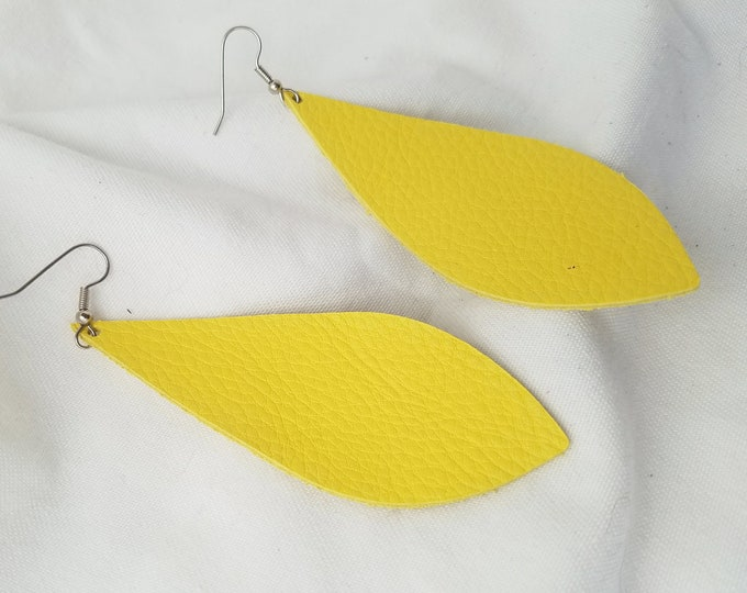 "Daffodil / Leather Statement Earrings / FREE SHIPPING/ Joanna Gaines Magnolia Inspired/ Pendant / Large/ 3.5""x1.25""/ Hypoallergenic / Spring"