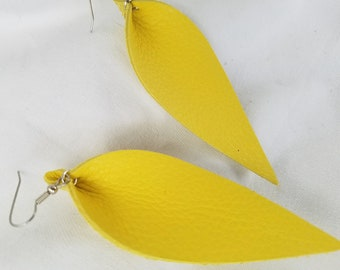 """Daffodil Yellow / Leather Statement Earrings / FREE SHIPPING/ Joanna Gaines / Zia Inspired/ Leaf / Lrg  3.25""""x1.25""""/ Hypoallergenic / Spring"""