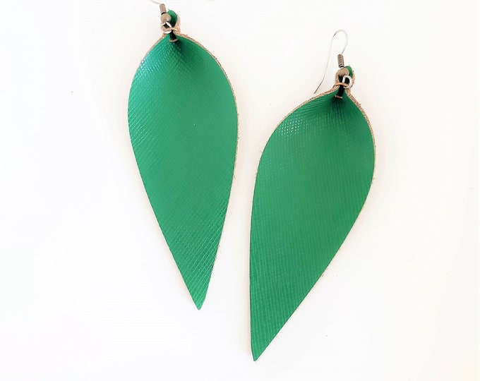 Green Leather Earrings / Classic Green / Leather Leaf Earrings / Feather Earrings / Statement Earrings / Aella V Jewelry / Large Earrings
