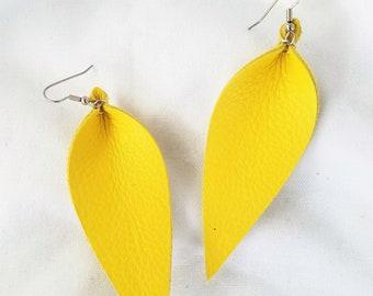 """Leather Leaf Earrings / Daffodil Yellow / Genuine Leather / Statement Earrings / Feather Earrings / Pinched Leaf / Long Earrings /3.25x1.25"""""""