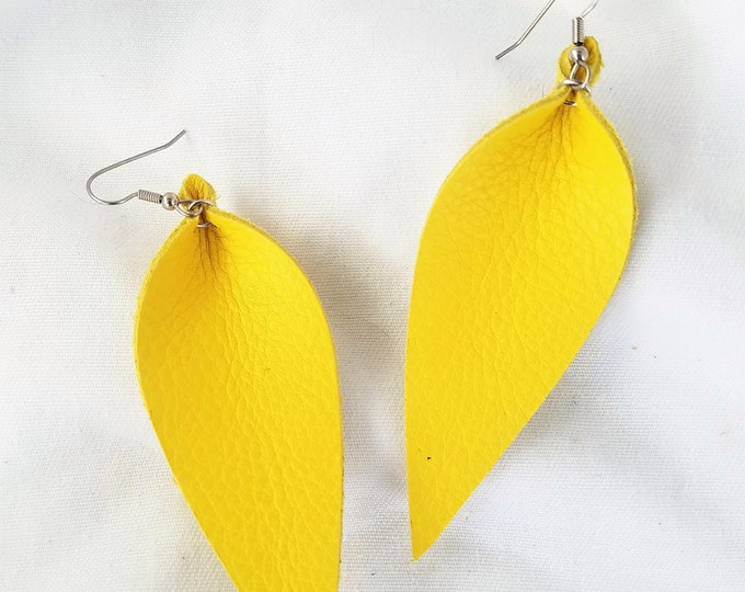 Leather Leaf Earrings / Daffodil Yellow / Genuine Leather / Statement Earrings / Feather Earrings / Pinched Leaf / Long Earrings /3.25x1.25""