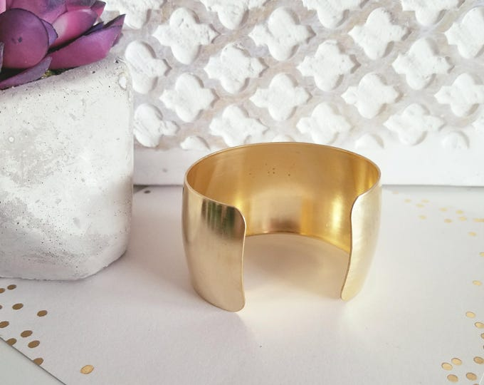 "Wide Brass Cuff Bracelet// Raw Brass// FREE SHIPPING //  Style// Fixer Upper // // Dani// 1.5"" x 6""// Adjustable"