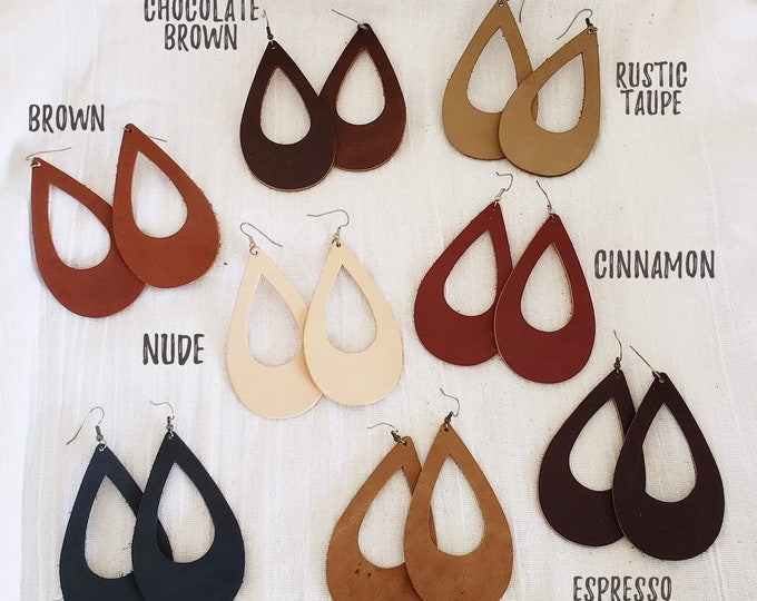 Leather Teardrop Earrings // Multiple Color Options // Nude, Taupe, Brown, Black, Rustic // Teardrop Cutouts // Lightweight Leather Earrings