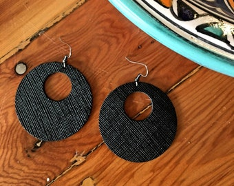 "Textured Black Circle Cutout Leather Earrings / Genuine Leather / Real Leather Jewelry / Geometric / Spring Fashion /2 x 2""/ AellaVJewelry"