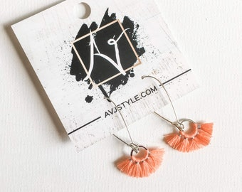 Small Hoop Fan Tassel Earrings, Salmon Earrings, Tassel Jewelry, Small Tassel Earrings, Small Fringe Earrings, Dainty Jewelry, Minimal, Hoop