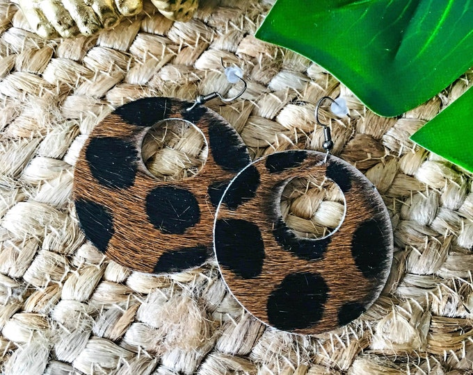 "Cheetah Hair / Circle Cutout Leather Earrings / Genuine Leather / Real Leather Jewelry / Geometric / Easter Gift / 2 x 2""/ AellaVJewelry"