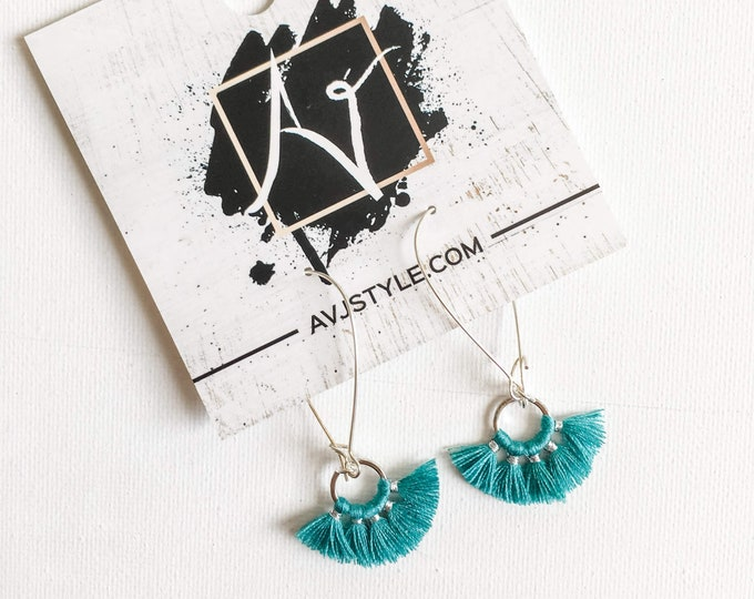 Small Hoop Fan Tassel Earrings, Teal Earrings, Tassel Jewelry, Small Tassel Earrings, Small Fringe Earrings, Dainty Jewelry, Minimal, Hoop