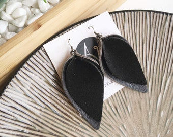 "Genuine Leather Earrings / Black Suede / Layered Petal / 2019 Suede Collection /  Style / Large / 3 x 1.75"" / Hypoallergenic"